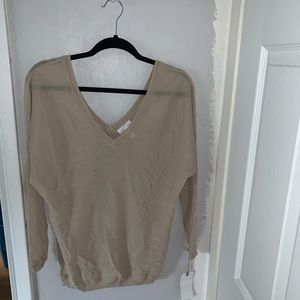 leith tan nude thin knit v neck sweater longsleeve